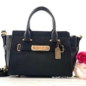 NWT COACH Swagger 27 Pebbled Leather Satchel Bag - Black